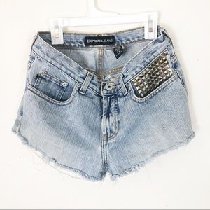 Low rise flare denim shorts